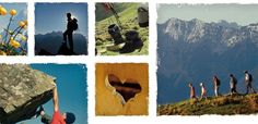 fig.: The collage of images shows impressions from the mountains such as yellow flowers with high mountain behind, a mountaineer with rucksack in front of a wide panorama, trekking shoes... The photo competition 'Moments of Happiness in the Mountains' runs until 31 October 2013 on wanderhotels.at. Photo: WanderHotels*Tirol.