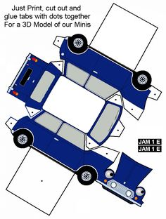 View topic - mini bodywork template (colour-me-in style! Cardboard Toys, Paper Toys, Paper Crafts, Paper Car, Paper Model Car, Paper Models, Diy Cnc Router, Mini Cooper, Up Book