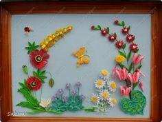 Картина панно рисунок День рождения Квиллинг Подарок в День Рождения Бумага Бумага гофрированная Бумажные полосы Проволока фото 1