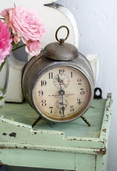 Old Tarnished Alarm Clock...green chippy table & pink roses.