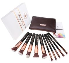 Party Queen Makeup Brush Set Classic 10Pcs Rose Golden Kabuki Brush with Luxury Pouch *** You can get additional details at the image link.