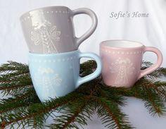 Winter - Shabby Engel WeihnachtsBecher Keramik handbemalt  - ein Designerstück von SofiesHome bei DaWanda Ceramic Tableware, Ceramic Pottery, Shabby Cottage, Shabby Chic, Light Colors, Colours, Shops, Hand Painted Ceramics, Designer