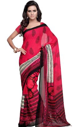 Poly Georgette Gajri Beautiful Printed Saree With Unstitch Blouse