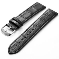 KS 20mm Black Leather Mens Replacement Watch Band Straps WB2042