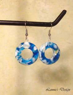 Blue Assembled motherofPearl and Resin Dangling by LanniesDesign, $7.95