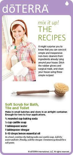 Soft scrub homemade ! For tile, tub & toilet ! --- easy to make I didn't need a gas mask or gloves to clean the bathroom ! I used tea tree oil instead of lemon because that's what I had!