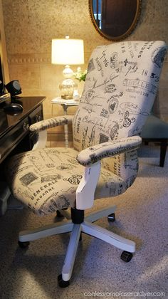 Tufted French Desk Chair Makeover - by Confessions of a Serial DIYer