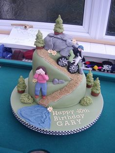 Mountain bike cake by Sensational Cakes by Jo McMullan, via Flickr Bicycle Party, Bicycle Cake, Bike Cakes, Biker Birthday, 40th Birthday, Birthday Cakes, Mountain Bike Cake, Mountain Biking, Tea Cakes