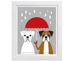 Dog Nursery Art Print - White and Brown Boxer with Pink Umbrella Wall Art - Pink and Blue Nursery Decor - Two Boxers Art - Pink Art Dog Nursery, Nursery Art, Nursery Decor, Dog Tumblr, Funny Animals With Captions, Pink Umbrella, Boxer Puppies, Dog Birthday, Birthday Cards