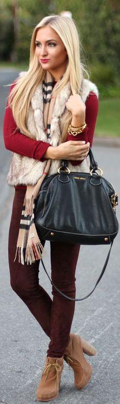 Faux fur gillet + scarf. Read more: http://fashflick.com/the-season-to-be-faux/  #fashion #fashflick