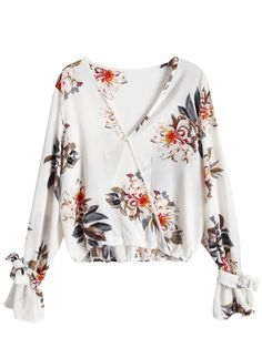 Floral Flare Sleeve Surplice Blouse - COLORMIX XL