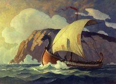Erik the Red Discovers America, 850 AD (aka A Viking Ship) by NC Wyeth