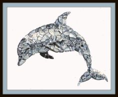 Mosaic dolphin shell art, dolphin art, shell art, dolphin collage, beach decor, dolphin mosaic, dolphin collage, handmade shell art - pinned by pin4etsy.com