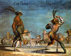 Commedia dell' Arte - Cucuba teasing Il Capitano Babeo Theater, Renaissance Costume, Theatre Costumes, Painted Paper, Historical Clothing, Oeuvre D'art, Les Oeuvres, History, Drawings