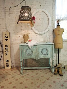 Painted Cottage Chic Shabby Romantic Aqua by paintedcottages, $295.00