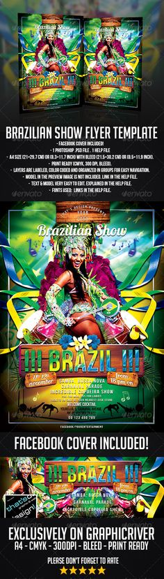 Brazilian Show Flyer Template #GraphicRiver SAVE 40%! Find this flyer inside a bundle of 3 BRAZILIAN FLYERS HERE – 2 Photoshop .psd file – A4 size (21×29.7 cm) or (8.3×11.7 inch) with bleed (21.5×30.2 cm) or (8.5×11.9 inch) – Print Ready (CMYK, 300 DPI, bleed) – Layers are labeled, color coded and organized in groups for easy navigation. Free Fonts used: - Bebas Neue: .dafont /fr/bebas-neue.font - Lobster 1.4: .dafont /lobster.font General tips for editing the flyer's ge...