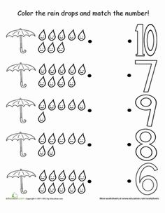 Preschool Counting & Numbers Life Learning Worksheets: Counting Raindrops