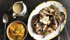 BBC - Food - Recipes : Honey mustard and garlic spatchcock chicken with sweet potato and mint mash