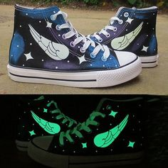 Glow in the Dark Wings Painted Canvas Shoes