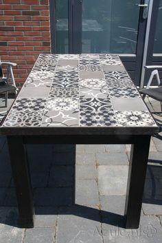 Cement Tiles Furniture - Patchwork Black and White - Project van Designtegels.nl
