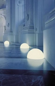 HMFL Hemisphere Lamp by Moonlight. What about a wall of emerging spheres at different depths...