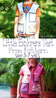 Explorers vest free pattern and tutorial Size 3-7yrs from Nap-Time Creations