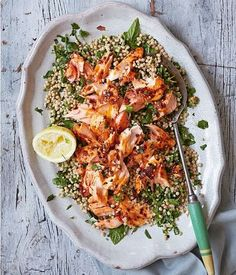 Roast Harissa Salmon With Lemony Giant Couscous from Great British Bake Off: Winter Kitchen. This dish is full of flavour from the warming, chilli harissa and the lemon dressing, which coats the giant couscous. – I Quit Sugar