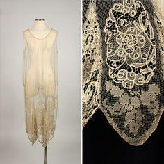 vintage 1920s FILET LACE dress  handmade by LivingThreadsVintage