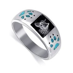 Sterling Silver Turquoise Inlay Wolf Southwestern Band Ring Size 6 to 15 Gem Avenue. $53.99. Gem Avenue Sku# TBRS018. Turquoise Gemstone Chip Inlay on both side of the Band. sizes from 7 to 15. 10mm wide Rings. High Quality and a unique style Silver Ring