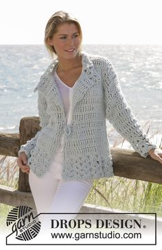 DROPS crochet jacket in Ice with dc-group pattern and stay in waist size S - XXL
