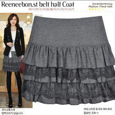 lace woolen skirt puff skirt short