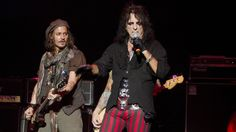 """Alice Cooper on Playing With Johnny Depp: 'He Never Makes It About Him' """"We've done a lot of recording together recently,"""" the shock rocker says. """"He is really a very talented and cool guy"""" Johnny Depp, Johnny Was, Alice Cooper, The Hollywood Vampires, Joe Perry, Rock And Roll Bands, Rock Legends, Playing Guitar, Rolling Stones"""