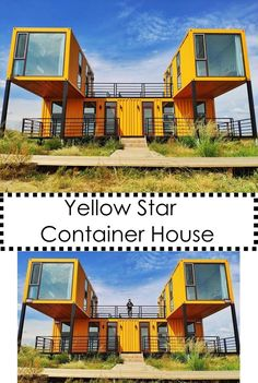 Shipping containers 410249847309615543 - Yellow Star Container House Source by dequissac Container Hotel, Cargo Container Homes, Building A Container Home, Storage Container Homes, Container Store, Shipping Container Buildings, Shipping Container Home Designs, Shipping Containers, Container Architecture