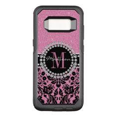 Girly hot pink glitter Damask Name & Monogram OtterBox Commuter Samsung Galaxy S8 Case - hot damask gifts custom personalize