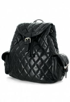 d0502c5b2 Black Quilt Backpack Bag With Punchout Detail Black Quilt, Backpack Bags,  Leather Backpack,