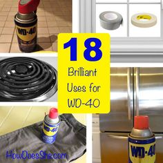 Clean those stainless steel appliances. Waterproof your boots and shoes. Remove Crayon Marks from Walls. Remove glue from Jam Jar Labels. Take off tape residue from a window. Diy Cleaning Products, Cleaning Solutions, Cleaning Hacks, Deep Cleaning, Cleaning Supplies, Wd 40 Uses, Uses For Wd40, Life Hacks, House Hacks