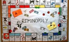 "I'm not crazy about the ""Remindopoly"" BUT I do like the Monopoly idea!  This would be a cool BBoard with the right idea (School Age)"