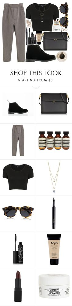 """""""work work working"""" by velvet-ears ❤ liked on Polyvore featuring Dr. Martens, Marni, Aesop, Topshop, Dorothy Perkins, Illesteva, Smashbox, NARS Cosmetics, NYX and Kiehl's"""