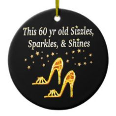 GORGEOUS GOLD 60TH BIRTHDAY Double-Sided CERAMIC ROUND CHRISTMAS ORNAMENT http://www.zazzle.com/jlpbirthday/gifts?cg=196035785250192468 #60thbirthday #60yearsold #Happy60thbirthday #60thbirthdaygift #60andfabulous #turning60