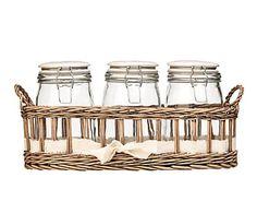 Set de 3 frascos de cristal y cesta de mimbre - gris