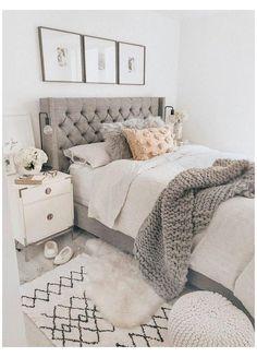 Cozy Bedroom, Trendy Bedroom, White Bedroom, 60s Bedroom, Bedroom Neutral, Bedroom Apartment, Ikea Bedroom, Bedroom Vintage, Bedroom Suites
