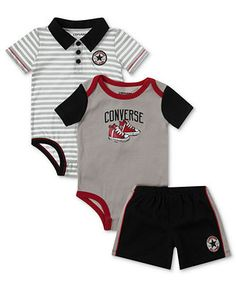 c35136cb3 Converse Baby Set, Baby Boys 3-Piece Bodysuits and Shorts & Reviews - Kids  - Macy's