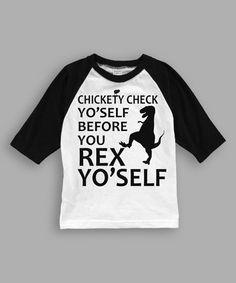 Love this White & Black 'Chickety Check' Raglan Tee - Toddler & Boys on #zulily! #zulilyfinds