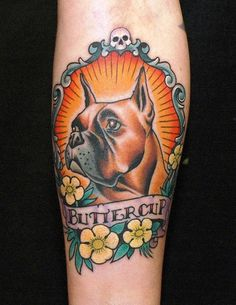 44 Old School Dog Tattoo