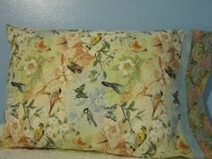 PILLOWCASE/ Birds and butterflies/floral cuff by FloridaFriends on Etsy