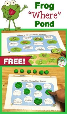 """Spring Speech Therapy! Add lily pads to the frog's pond while practicing """"Where"""" questions! This activity uses cute frog picture cues for students who are non-readers or benefit from visual cues."""
