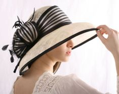 1c62ab93485cf Ivory with black hat widebrim hat Summer by IrinaSardarevaHats Kentucky  Derby Hats