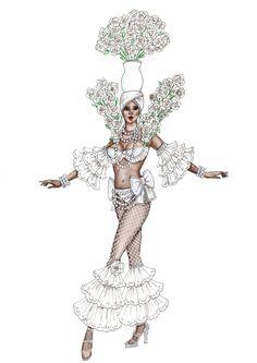 Fashion Illustration Tutorial, Fashion Illustration Collage, Fashion Illustration Dresses, Fashion Model Sketch, Fashion Design Sketches, Carnival Fashion, Costume Design Sketch, Samba Costume, Arte Do Kawaii