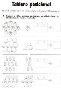 Tablero posicional: Ubica correctamente las decenas y las unidades en el tablero posicional.
