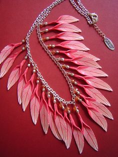 Clay feather necklace